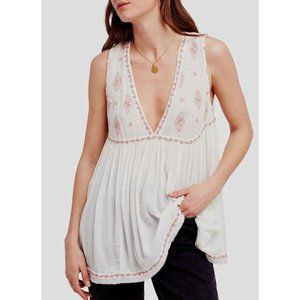 FREE PEOPLE IVORY COMBO DIAMOND EMBROIDERED TOP S